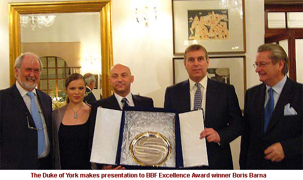 The Duke of York makes presentation to BBF Excellence Award Winner Boris Barna